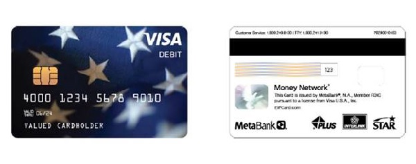 EIP prepaid VISA debit cards - what they look like